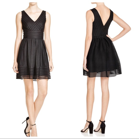 7961740dfae Aqua Dresses   Skirts - AQUA mesh neoprene stripe dress Bloomingdales S
